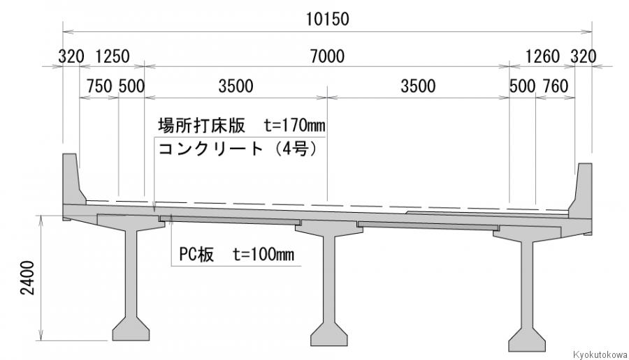 小田第2高架橋断面図